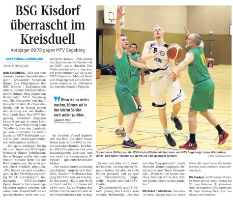BSG Kisdorf Kaltenkirchen gegen MTV Segeberg